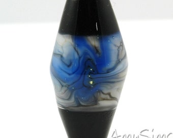 Wedgewood Blue & Black Artisan Focal Lampwork Glass Bead B0112