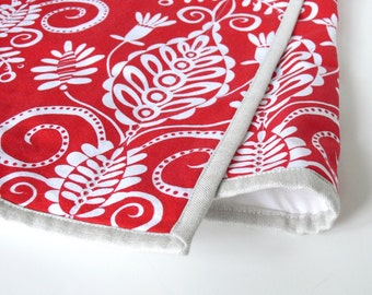 SALE - Table Runner -- Quilted with Metallic Linen Binding -- Christmas Red White Lace