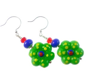 Glass Bead Earrings, Unique Earrings, Lampwork Earrings, Dangle Earrings, Beadwork Earrings, Green Flower Earrings, Lampwork Jewelry
