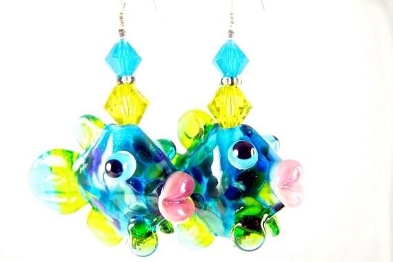 Fish Glass Bead Earrings, Green Blue Lampwork Earrings, Animal Dangle Earrings, Lampwork Jewelry, Beadwork Earrings, Drop Earrings