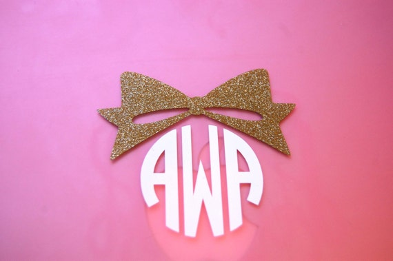 "3"" Inch Glitter Bow Glossy Circle Monogram Decal"