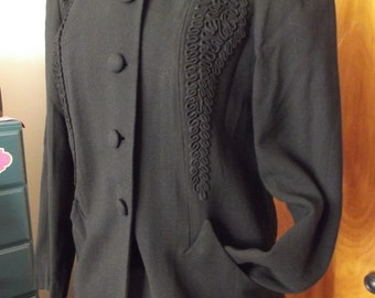1940's -50's Wool Front Button Jacket With Nice Detail Work
