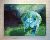 Manatee Painting 30x40 Canvas Art Large Blue Green Ocean Sea Cow Martha the Manatee
