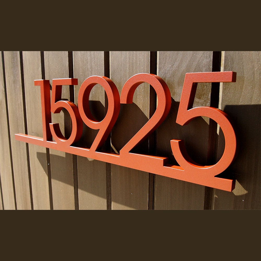 Custom minimalist underline house number sign in aluminum for House sign designs