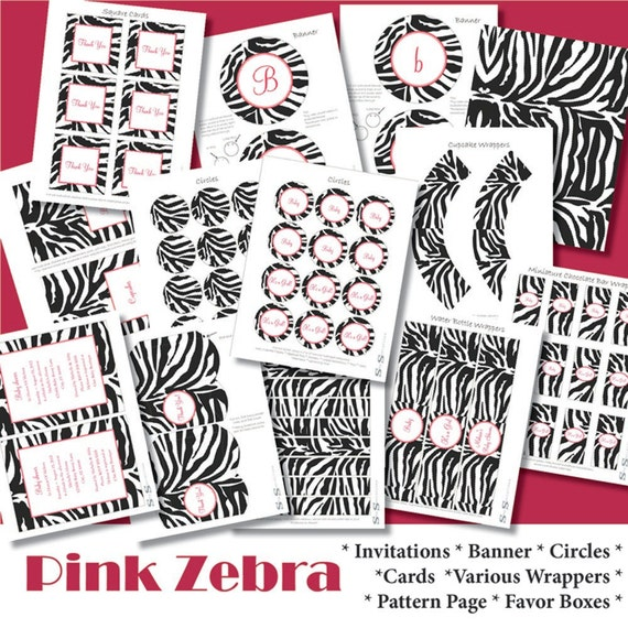 zebra party kit zebra decorations zebra shower by