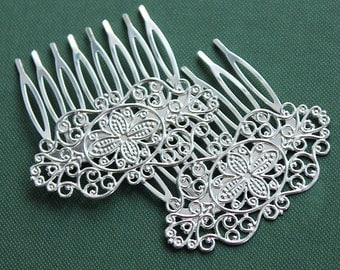 2Pcs Wholesale High Quality Silver plated Brass Filigree hair comb Setting Nickel Free Lead Free (COMBSS-17)