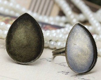 10 PCS  18X25mm Adjustable Antique Bronze plated brass  Teardrop Rings(Nickel Free)-(RINGSS-153)