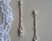 MARIA Art Deco Gold with CZ Crystals Linear Drop Earrings