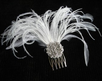 LESLIE ~ Art Deco Bridal Silver Filigree Hair Comb with White Feather Spray