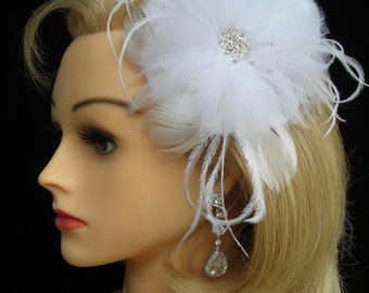 NATALIE ~ Bridal Headpiece/Fascinator with White Chiffon, Feathers, Tulle and Russian Veiling