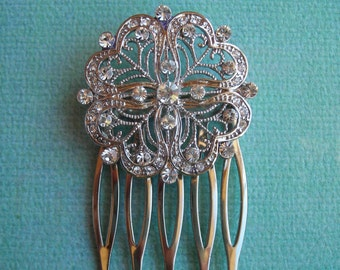 HARLOW ~ Bridal Etched Heart with Austrian Crystal Hair Comb/ Bridal Bouquet Adornment Pin