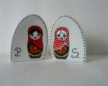 Limited edition, Hand painted salt and pepper shakers: Matriochka Design