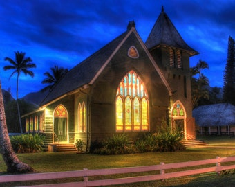 Color Print of Wai'oli Hui'ia church of Hanalei, Kauai just before dark