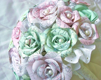 the Elodie model map atlas mint green paper roses and pearls and lace bridal bouquet