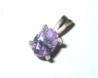 Dainty Sterling Silver & Light Lavender Purple CZ Pendant Faceted Pale Amethyst Colored Vintage