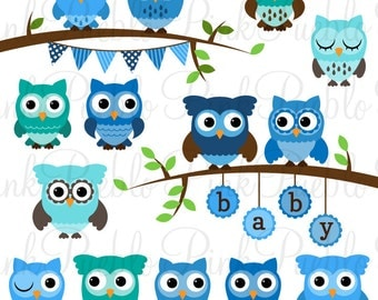 Baby Shower Boy Owl Clipart Clip Art, Boy Baby Shower Owl Bird Clipart Clip Art Vectors - Commercial and Personal