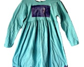 Teal Girls Size 8 Dress Tie Dyed Patch  Cotton