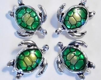 Four 2 Hole Slider Beads, Connectors, Links Green Enamel Sea Turtle, Loggerhead Antiqued Silver Plated Seashore Beach Ocean Marine Life Bead