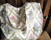 Retro vintage boho bag, Laura Ashley botanicals - fully reversible, 2 styles