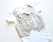 Personalized Khaki Baptism, Christening, and Dedication Bodysuit with Matching Removable Bow Tie
