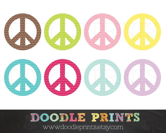 Peace Sign Clipart - Digital Clip Art Printable - Peace Sign Clipart - Polka Dot Peace Sign - Personal and Commercial Use