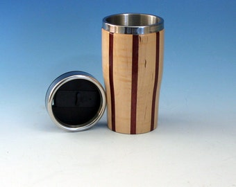 Curly Maple with Purpleheart Accents Wooden Travel Mug with Stainless Steel Insert and Sliding Sipper Top
