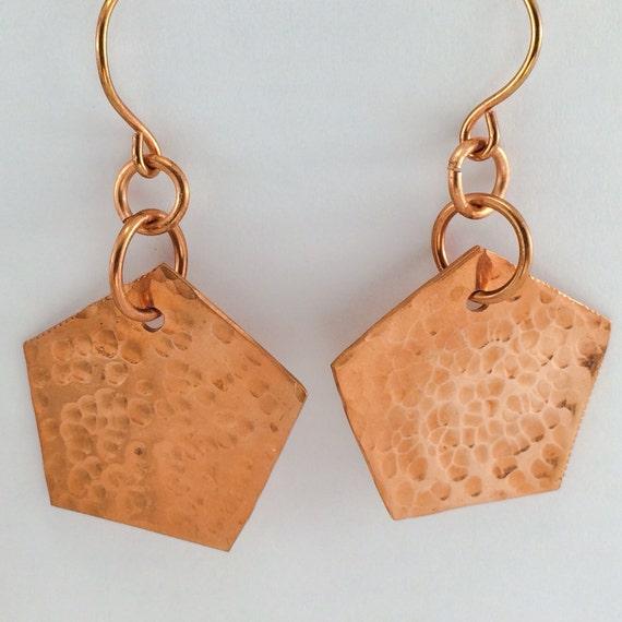 earrings pentagon shape handcut  textured copper