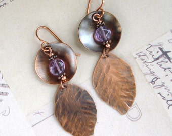 Amethyst and Copper Leaf Sheet Metal Earrings