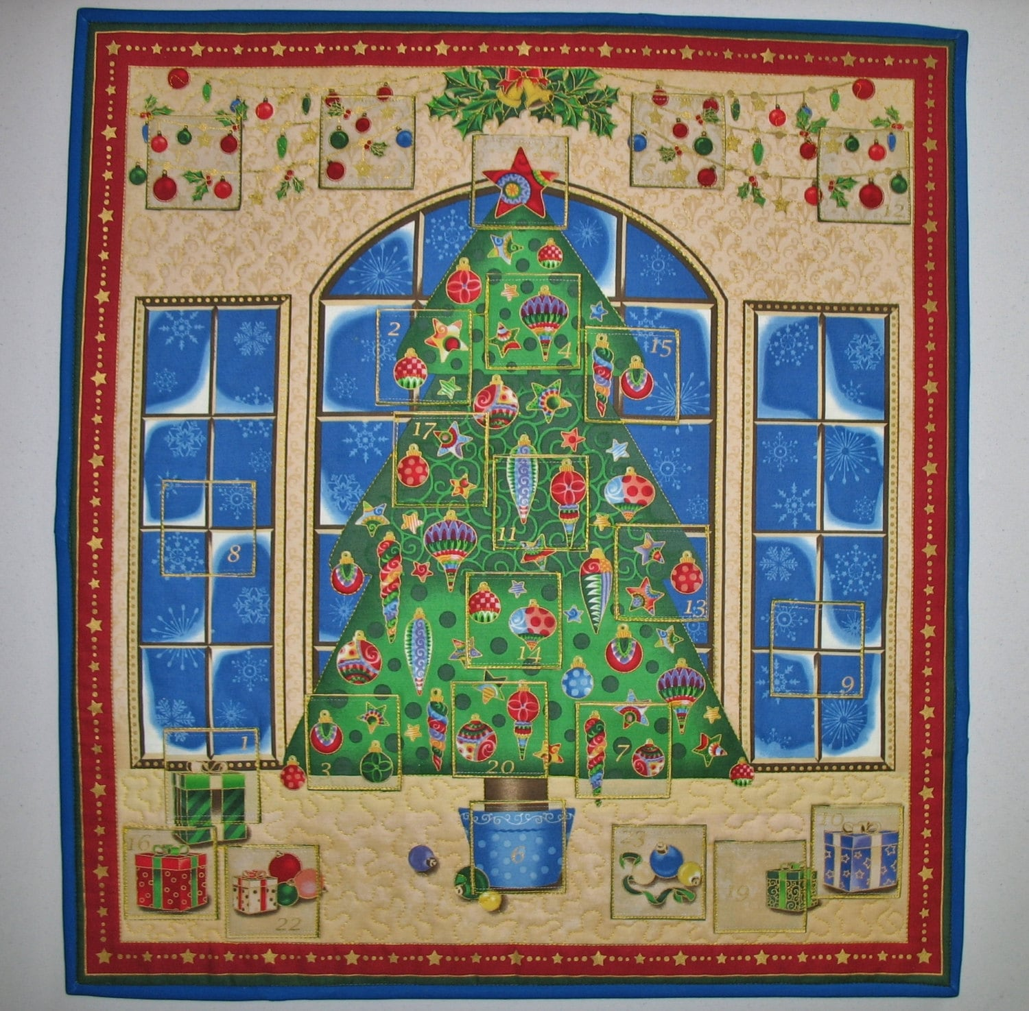 Advent Calendar Christmas Tree With Presents Quilted
