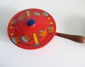 Mid Century Modern Red Peter Max Enamelware Cooking Pot with Prep Bowl