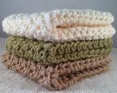 Set of 3: Premium Handmade Cotton Washcloths