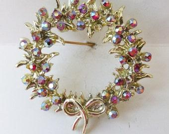 Vintage jewelry brooch gold red aurora borealis wreath wedding brooch Sale 50 off
