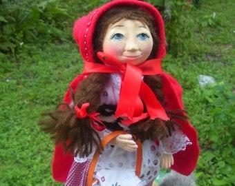 Red Riding Hood handmade folk art doll OOAK & Big Bad Wolf