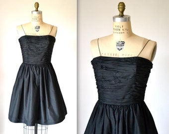 Vintage Black Party Dress by Bill Blass// Black Silk Dress //80s Does 50s Black Prom Dress// Vintage Black Prom Dress