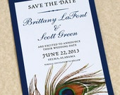 Peacock Save The Date, Peacock Feather, Peaccock Wedding, DEPOSIT