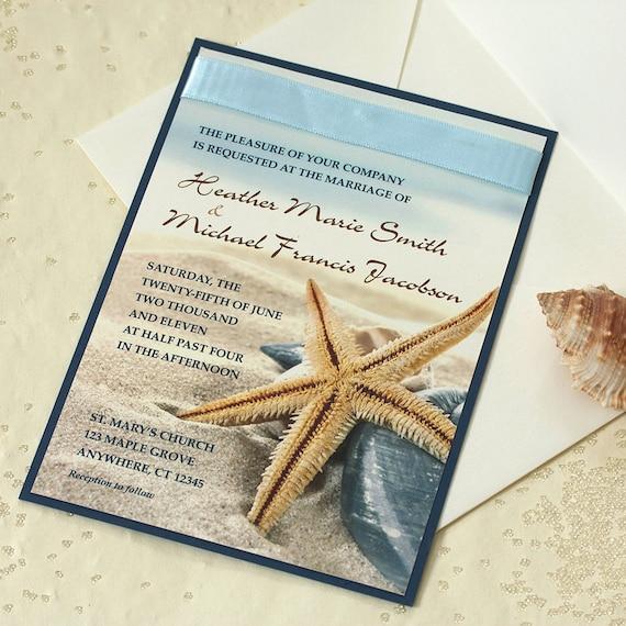 Starfish Wedding Invitation, Beach Wedding Invitation, SAMPLE