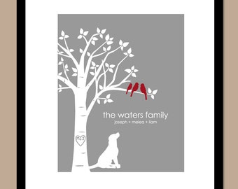 "Family Tree with Pets Mother's Day Gift - You Choose Colors Personalized Love Bird Wedding Tree Custom Dog Silhouette - 8""x10"" Print"