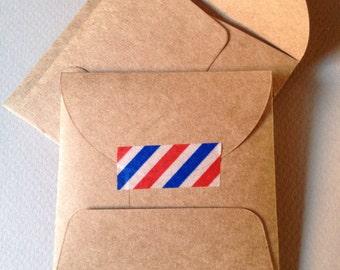 "100 Kraft Envelopes--Small Square Envelopes-Size 3"" x 3""-Rustic Brown"