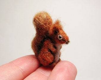 Miniature needle felted squirell
