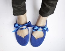 Ballet Flats Shoes in Cobalt Leather Heart Shaped Soft Royal Blue Handmade Ballerinas
