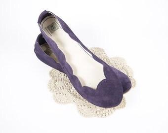 Violet Soft Suede Scalloped Handmade Ballet Flats