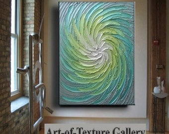 Big 30 x 40 Original Abstract Texture Modern Aqua Blue Green Gray Metallic Carved Floral Sculpture Knife Oil Painting by Je Hlobik