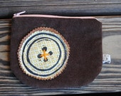 Brown hand printed zipper pouch one of a kind