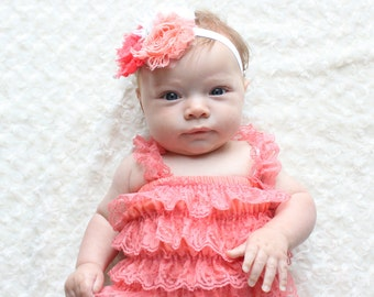 Coral Under the Sea PettiRomper Set    Starfish Pearls (Infant, Toddler)   Headband, Clip, Romper
