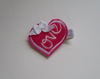 Love Heart Style 3 Felt Embroidered Hair Clip - Clippie - Party Favor -