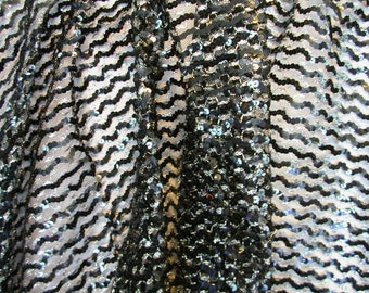 Black Sequins on Black Netting with Silver Dots  1 Yard  (SM340)