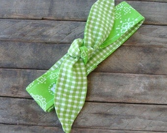 Reversible Headband Lime Green Bandanna Green Gingham Teen Women Hair Accessory Headscarf with or without elastic