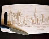 New York City Skyline Laser Etched Maple Cutting Board - Perfect for a Shower, Wedding, or Housewarming Gift