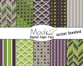 """Digital Paper 10 PACK - Geometric Royal Purple, Lavender, and Lime Green (300 dpi) -- 10 designs - 12"""" by 12"""" Instant Download (048)"""