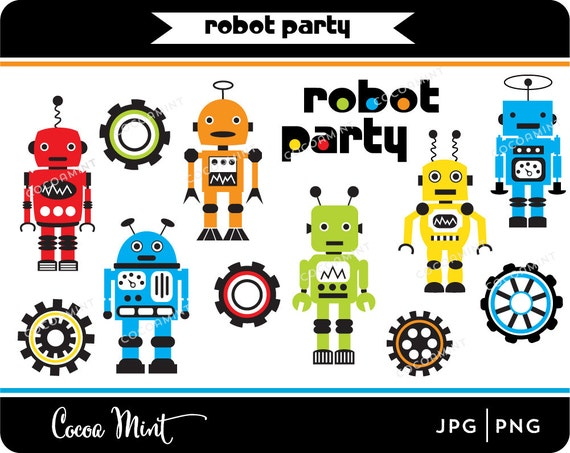 Robot Party Clip Art